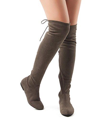 RF RAUM DER MODE Frauen Mode Bequeme Vegane Wildleder Seitlichem Reißverschluss Overknee Stiefel Taupe Su
