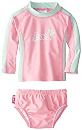 Baby Banz Baby Girls\' Long Sleeve Rash Guard and Swim Diaper Set Pink Mint, Pink/Mint, 6 12 Months