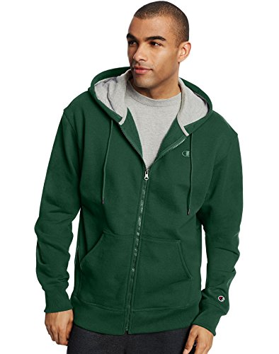 Champion Men's Powerblend Full Zip Hoodie, Dark Green, X-Large