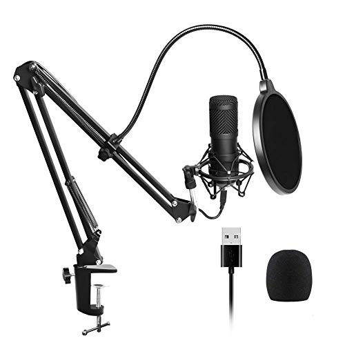 USB microphone, 192kHz / 24bit, Professional podcast microphone sets with microphone stand, with a sound card Boom Arm Shock Mount pop filter for Skype, radio, YouTube, podcasts and much more