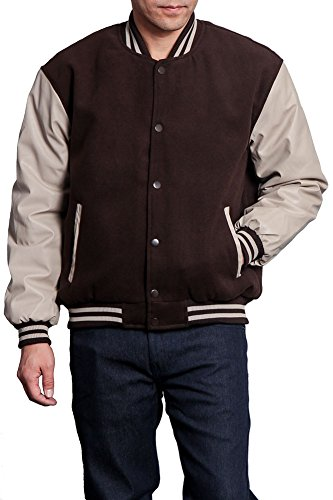 (G-Style USA Letterman Varsity Jacket VJ100A - Brown/Khaki - X-Large - KK1E)