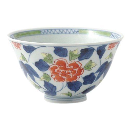 Peony Karakusa Airya-yaki 4.9inch Ricebowl Porcelain Made in Japan (Serving Round Plate Peony)