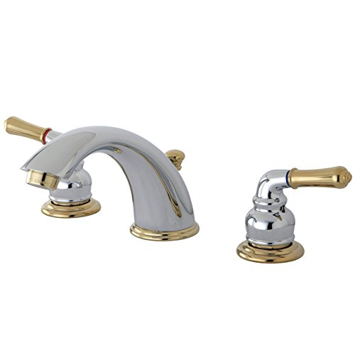 (Kingston Brass KB964 Magellan II Widespread Lavatory Faucet 8-Inch to 16-Inch Centers, Polished Chrome and Polished Brass )