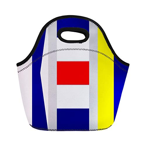 (Ablitt Lunch Bags Destination Nautical Maritime Signal Flag Ack Nantucket Vacation neoprene lunch bag lunchbox tote bag portable picnic bag cooler bag)
