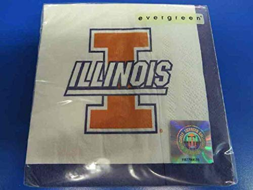 Illinois Fighting Illini NCAA Napkins Football Game Day Sports Themed College University Party Supply Napkins for Beverage for 20 Guests Orange Blue Color Paper Napkins ()