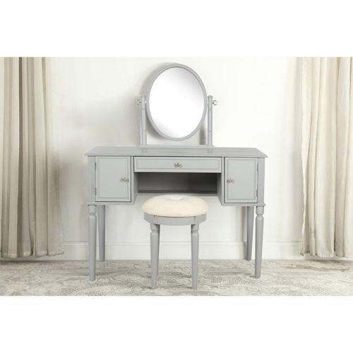 SEESUU Vanity Table Set with Mirror 3 Drawers Makeup Dressing Table with Cushioned Stool (Grey)