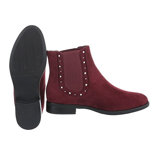 Ital-Design Chelsea Boots Damenschuhe Chelsea Boots Blockabsatz Blockabsatz Stiefeletten Weinrot