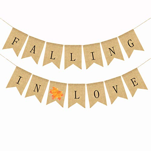 Autumn Wedding Favors (Alasida Falling in Love Burlap Banner, Great for Thanksgiving Decor, Valentines, Autumn Room Decoration, Party Decor for Birthday, Wedding, Bridal Baby Shower, Anniversary and)