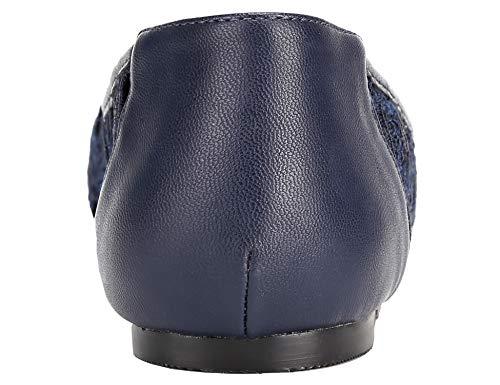 Bailarina Encaje Mujer para Greatonu Marino Azul Plana Forro de 4B6wxn7q