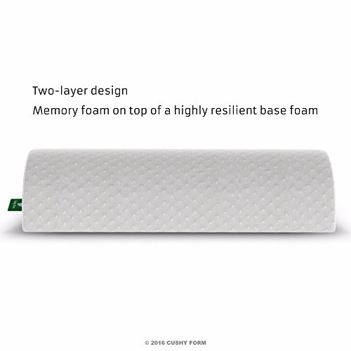 Cushy Form Back Pain Relief Half Moon BolsterWedge  Provides Best Support for Sleeping on Side or Back  Memory Foam Semi Roll LegKnee Pillow with Washable Organic Cotton Cover Large White