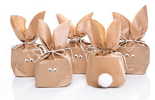 10 Ostern Geschenktüte (vorgeschnitten) mit Dekoband, Wackelaugen und weißer Hasen-Blume (Puschel) als Alternative zum Osternest - Tütengröße 16,5 x 26 x 6,6 cm
