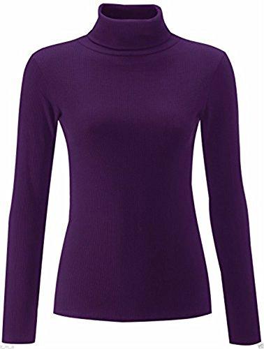 Friendztrendz Friendz Trendz -Women's Plaine Ribbed Polo Col Roulé Col Roulé à Manches Longues Pull Haut (Purple, ML)