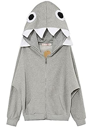 Sixkiss Women's Casual Long Sleeve Cotton Pockets Full Zip Hoodie (XXL, Grey)