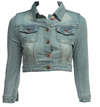 womens ladies fitted light wash cropped denim jacket size 8-16 JKT ...