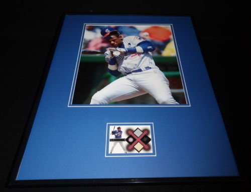 (Sammy Sosa 16x20 Framed Game Used Bat, Jersey & Photo Display Cubs UDA)