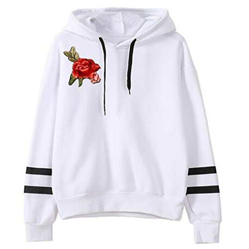 Women's Floral Striped Long Sleeve Pullover Hoodies White Asian (Juniors Graphic Hoodie)
