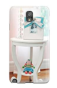 New Fashion Premium Tpu Case Cover For Galaxy Note 3 - White Side Table And Lamp In Girl8217s Pink Nursery