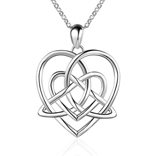 Sterling Silver Vintage Good Luck Triangle Love Heart Irish Celtic Knot Pendant Necklace, 18 inch - Irish Heart Necklace
