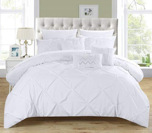 (Chic Home 10 Piece Hannah Pinch Pleated, ruffled and pleated complete Queen Bed In a Bag Comforter Set White With sheet set)