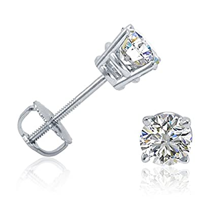 AGS Certified 1/2ct TW Round Diamond Stud Earrings in 14K Gold with Screw Backs by Amanda Rose Collection