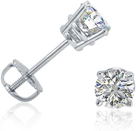 AGS Certified 1/2ct TW Round Diamond Stud Earrings in 14K White or Yellow Gold with Screw Backs
