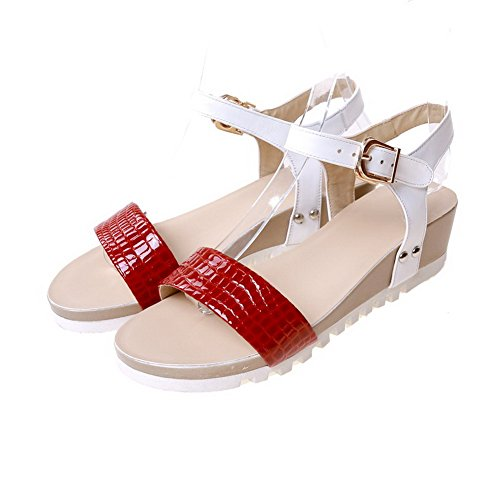 AmoonyFashion Womens Solid Cow Leather Low-Heels Open Toe Buckle Sandals Red pRrm7AfY70