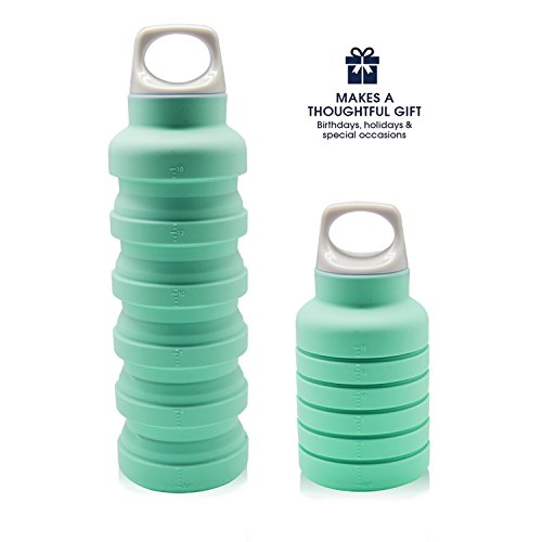 Lightweight Collapsible Water Bottle,BPA Free Reusable Silicone Drinking Bottle,Leakproof Portable Water Bottle with Hook for Travel,Sports,Running,Camping,Hiking,Walking(Blue)