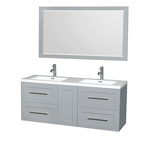 (Wyndham Collection Olivia 60 inch Double Bathroom Vanity in Dove Gray, Acrylic Resin Countertop, Integrated Sinks, and 58 inch Mirror)