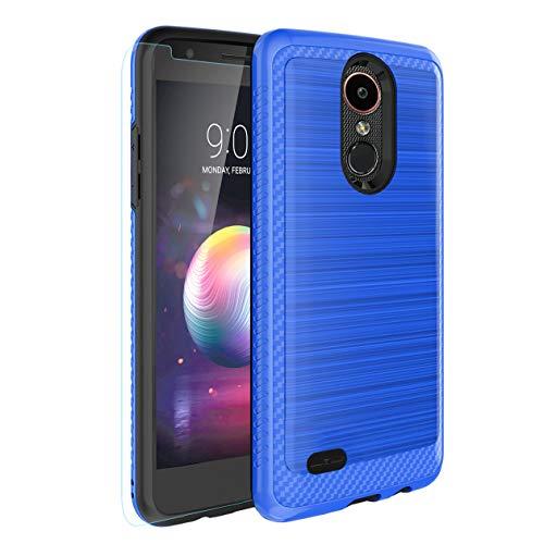 LG Aristo 2/Zone 4/Aristo 3/Aristo 3 Plus/Tribute Empire/Tribute Dynasty/Aristo 2 Plus/K8+/K8 2018/Fortune 2 Case,Tempered Glass Screen Protector,Hybrid Dual Layer Case for LG Phoenix 4/Rebel 4-Blue