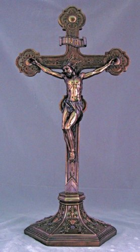 22.5 Standing Ornate Crucifix in Cold-cast Bronze