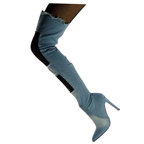 Angkorly Zapatillas Moda Botas Altas Botas Flexible Cavalier Stiletto Mujer Fishnet deshilachada Tacón de Aguja Alto 11 cm Azul claro