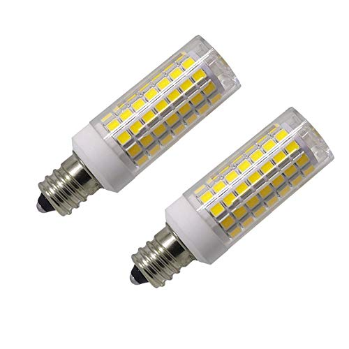 Led E12 led Light Bulb 120V, 6000K Daylight White 8W Led E12 Candelabra Screw Base, Xenon T4 JD Type led Halogen Bulb Replacement 75W or 100W with 850lm-5packs (Daylight White 6000K)