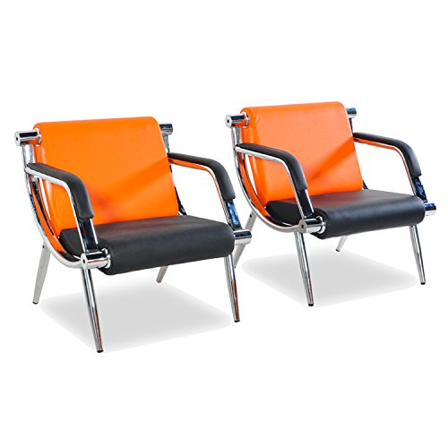 WALCUT 2Pcs PU Leather Office Reception Chair Waiting Room Visitor Guest Sofa Seat Orange