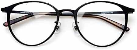 0242c6d984ed Komehachi - Ultra Light Slim Round Metal RX-Ready Clear Lens Eyeglasses  Frame