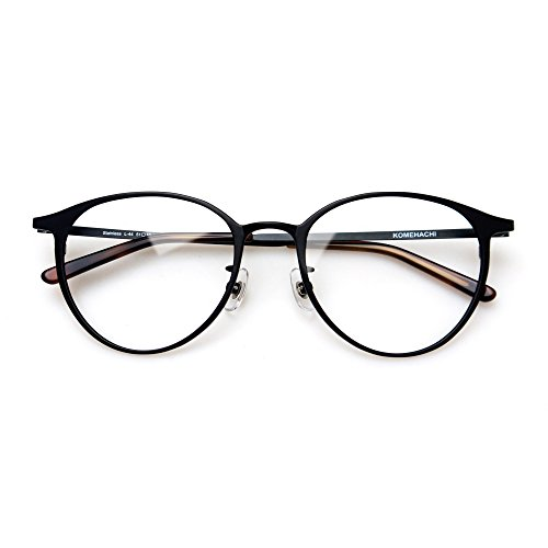 Komehachi - Super Light Unisex Vintage Simple Elegant Round Metal RX-Ready Eyeglasses Frame with Clear Lenses (Black)