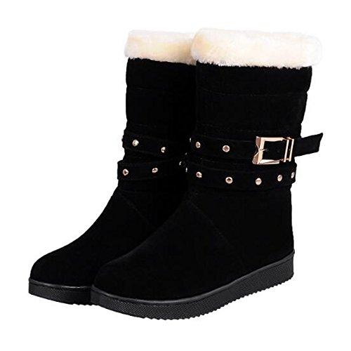 Nubuck Camel tonda Camel da per Snow in cadono Scarpe Casual Calf donna Rosso punta Boots inverno stivali HSXZ Mid pelle Nero scarponi Xq7RW