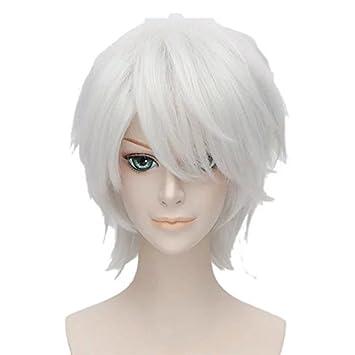 Anime Cosplay 30 Cm Corta Plata Blanca Peluca con Capas + tapa por TOPMAX