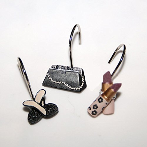 New 12 Pcs Handbag High-heel Shoes Lipsticks Decorative Shower Curtain Hooks