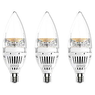 SANSI E12 LED Candelabra Light Bulb, 65 Watt Equivalent 650 Lumens, 6W Ceramic LED Candle Light Bulbs, Soft Warm White 2700K Chandelier Bulbs, Non-Dimmable 3-Pack