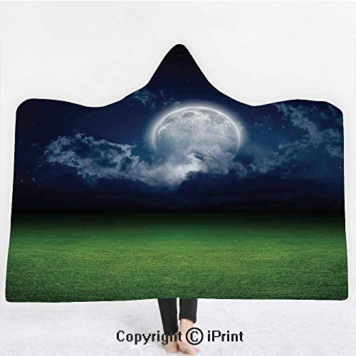 Mystic House Decor 3D Print Soft Hooded Blanket Boys Girls Premium Throw Blanket,Grass Field Sports Stadium under Cloudy Night Sky with Moon Lunar Mystic,Lightweight Microfiber(Kids 50