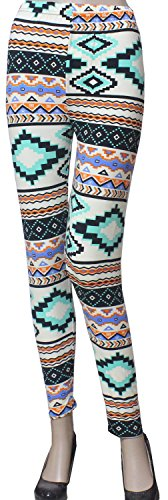 Hot Aztec Tribal, Chevron Print Pattern Leggings Trendy Pants Multi/Turq 3168-14120223 free shipping