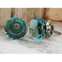 Set Of 2 Drawer Cabinet Dresser Handmade Glass Light Blue Crystal Knob