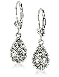 Rhodium Plated Sterling Silver White Swarovski Crystal Teardrop Lever Back Earrings