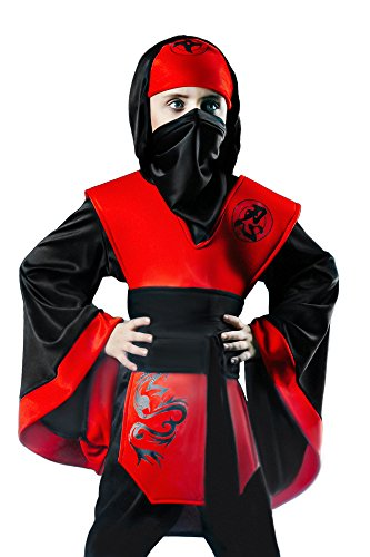 Kids' Unisex Red Viper Ninja Martial Art Warrior Dress Up & Role Play Halloween Costume (8-11 years) Black and Red - Good Movie Character Costume Ideas