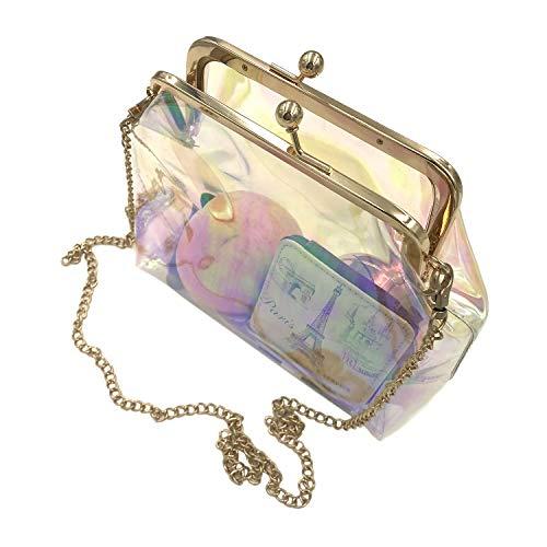 c9d80ad5e795 Freie Liebe Women Clear Purse Transparent PVC Kiss Lock Chain Cross Body  Bag Holographic Evening Clutch