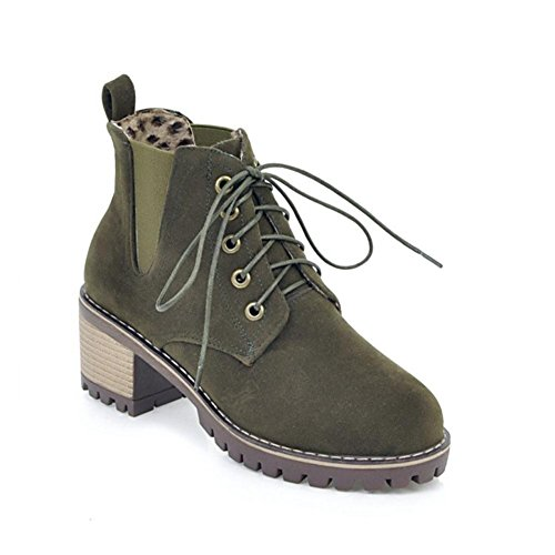 Winter Rough Round Fall EUR36UK354 Brown Boots ARMYGREEN Black Party Lace Martin Heel NVXIE Womens Scrub head Work W0q7BXn