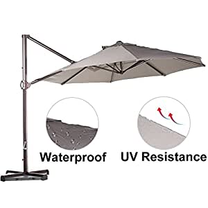 Abba Patio 11-Feet Offset Cantilever Umbrella Outdoor Patio Hanging Umbrella with Cross Base and Umbrella Cover, Tan