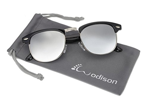 WODISON Retro Classic UV Protection Half Frame Rimmed Sunglasses Hollywood Style Silver - Silver Sunglasses Rimmed