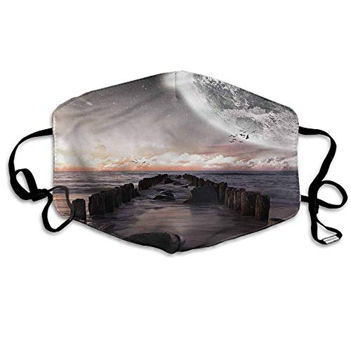 Space Fashion Mouth Mask Old Pier Sea and Beach for Cycling Camping Travel W4