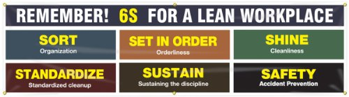 Motivational Safety Banner - Accuform MBR986 Motivational 6S Safety Banner, Legend